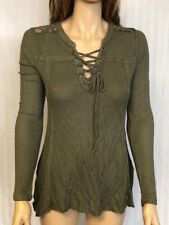 Women's NWT American Rag Crochet-Trim Long Sleeve Waffle Dusty Olive Green