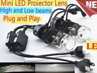 H4 CREE LED Projector lens headlight kit Bi-LED High Low Bulbs Lamp vs Xenon HID