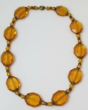 Vintage Amber Faceted Sparkly Crystal Glass Bead Choker Necklace
