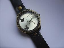 Reloj de Cuarzo Smart adultos Mickey // Minnie Mouse Correa de Cuero Negro