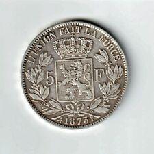 BELGIQUE 5 Francs 1873 Léopold II - (Très belle) SUP+