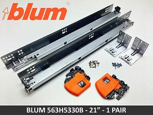 "Blum TANDEM 563H Series 563H5330B 21"" Soft Close Slides (pair) w/Locking Devices"