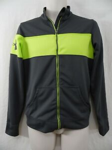 UNDER ARMOUR - Mens S / SMALL - Full Zip Soft Shell GRAY & GREEN Track Jacket