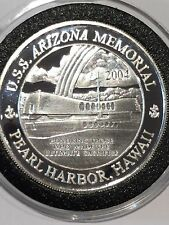 2004 Pearl Harbor Hawaii Memorial 1 Troy Oz .999 Fine Silver Ag Coin Round Proof