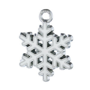 BULK BUY 10 Stunning Christmas Snowflake Charm Pendants with White Enamel