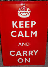 KEEP CALM AND CARRY ON, TOP-QUALITY EMBOSSED (3D) METAL  SIGN 30x20cm WW2