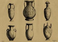 Décoration Suite de Vases Antiques - Cheminée Gravure XIXème Péquégnot