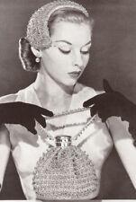 Vintage Crochet PATTERN to make Half Hat Evening Band Beaded Midas Bag 50s