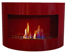 Cheminée à bio éthanol Riviera Deluxe Rouge cheminée murale + brûleur 1 litre