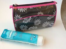 Makeup Bag w/ Mirror by Prevail White Flowers on Black Background Pink Trim