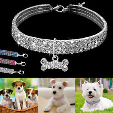 Pets Dog Cat Diamond Bow Collars Rhinestone Crystal Puppy Necklace Accessories L