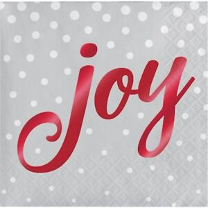 Foil Stamped Holiday Joy Silver Beverage Napkins-16 pack (5in. x 5in)-3-ply