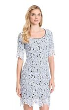 NWT $199 Belle Badgley Mischka 'Nadina' Lace Shift Dress Ivory, Blue Size 0