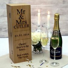 Personalised Hinged Opening Wooden Wine & Champagne Box with Silk Linings
