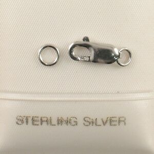Sterling Silver 925, Rhodium Finish 4 x10mm Lobster Claw Closed Ring Clasp TPJ