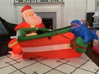 Gemmy Airblown Animated Inflatable Fishing Santa In Boat Christmas Yard Decor