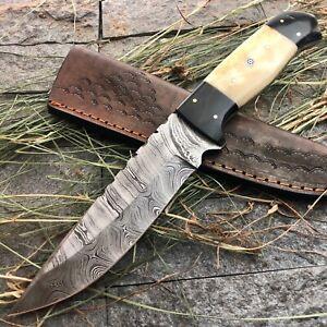"11.5"" AMERICANO CUTLERY CUSTOM HANDMADE DAMASCUS HUNTING FULL TANG KNIFE - A100"