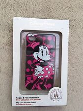 NEW DISNEY PARKS Black & Pink Minnie Sparkle iPhone 4 Clip case & screen guard