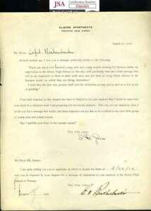 Eddie Rickenbacker JSA Coa Hand Signed 1922 Letter Autograph