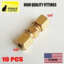 """10 PC – 1/4"""" ( 6 mm ) UNION COMPRESSION FITTINGS BRASS"""