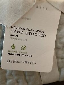 pottery barn belgian flax linen hand stiched euro shams (2) soft gray #1480