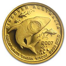 Australia 2007 1/10 Oz 3.11 gr GREAT WHITE SHARK GOLD Proof Coin RARE!