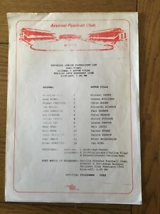 ARSENAL v ASTON VILLA ( SJFC S/F ) 1991/2.