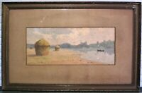 Antique French Impressionist Watercolor Painting Haystacks Signed L. Surand