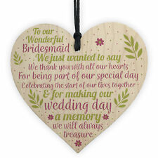Wedding Heart Thank You Gift Bridesmaid Flower Girl Maid Of Honour Keepsakes