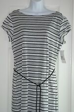 NWT SHARAGANO WOMENS 12 L WHITE BLACK STRIPE CROCHET KNIT MAXI DRESS