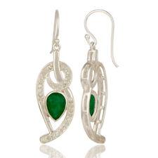 Green Aventurine & White Topaz Dangle Earring 925 Sterling Silver Jewelry