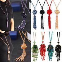 Elegant Women Crystal Tassel Long Pendat Necklace Silver Chain Statement Party