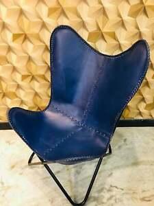 Handmade Blue Buffalo Leather Butterfly Chair Lounge Relax Arm Chair Home Décor