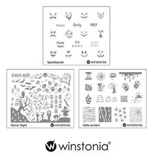 Winstonia Halloween Nail Art Stamping Image Plate Spooky Horror Template Bundle