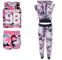 New Girls Army Camouflage Newyork 98 Tshirt shorts &sleeveless Tracksuit 7-13Yrs