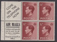 Gb Eviii Mint 1936 1½d booklet Air Mails advertising pane wmk inverted Pb5a Mnh