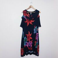Taking Shape TS Petite Plus Size SP Red Black Hibiscus Floral Tunic Dress