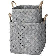 Lene Bjerre Elma Square Basket Set of 2 Baskets with Handles Grey Finish