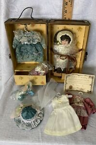 Porcelain Doll TRUDY TRAVELER By SHOW STOPPERS in WOODEN TRAVEL TRUNK & CLOTHES