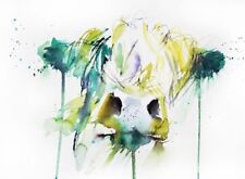 """Colorful Cow Paint Drip wall art printed on canvas 22'' X 16"""" solid frame pine"""