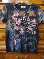 Vanilla Sugar..Cotton Stretch Knit Stamp Print Top..Blue/Pink on Black/Bling..PL
