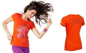 Zumba Cha-Cha-Check Me Out Tee Shirt Top - Cherry Orange ~ sz XS, Lg, XL ~ New!
