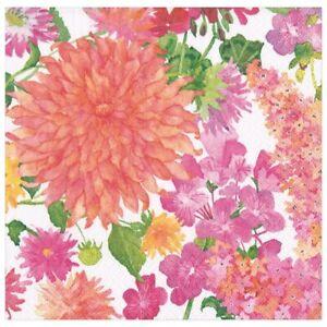 Caspari Paper Dinner Napkins, Summer Blooms, 2 Packs (16390D)