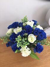 Artificial  Silk Rose Grave Pot Flower Arrangement Blue And White Handmade
