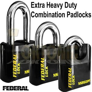 Federal 60mm Extra Heavy Duty High Security Combination Padlock Van Gate Garage