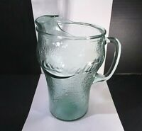 """Vintage Coke Coca Cola Glass Pitcher Pebbled Heavy Glass ~9.5"""" Tall Green Glass"""