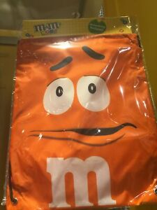 M&M's World Orange Nylon Drawstring Backpack New Sealed