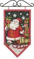 Counted Cross Stitch Kit Mini Banner  WINTER Christmas Santa