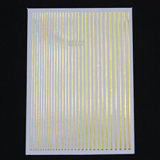 Gold Silver Metal 3D Nail Art Sticker Lines Strip Mix-size Transfer Stickers DIY