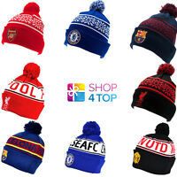 OFFICIAL FOOTBALL SOCCER CLUB TEAM FANS SKI KNITTED HAT CAP BOBBLE WINTER BEANIE